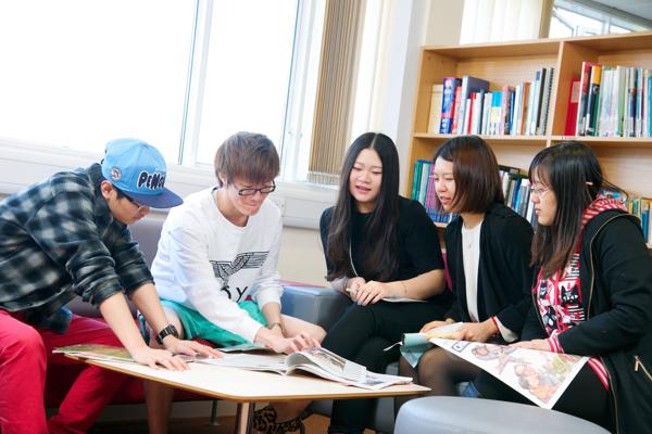 Language students in Library