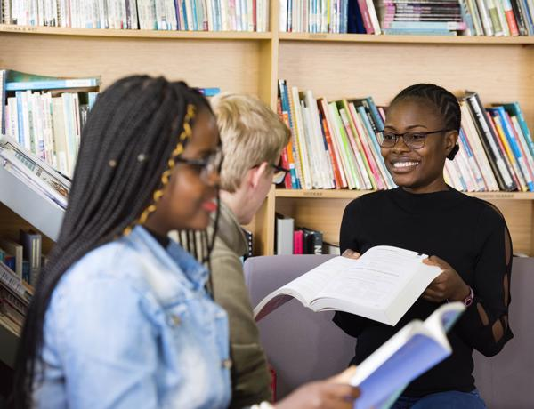Students with language books