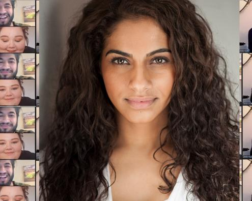 Clips from a video call between Mandip Gill and students