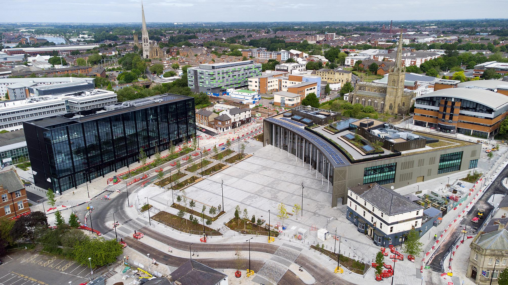 Aerial view of the University Square, Student Centre and EIC